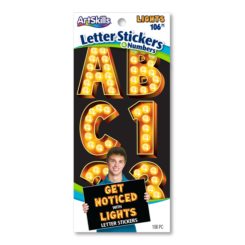 Jumbo Lights Illusion Stickers Poster Letters Make A