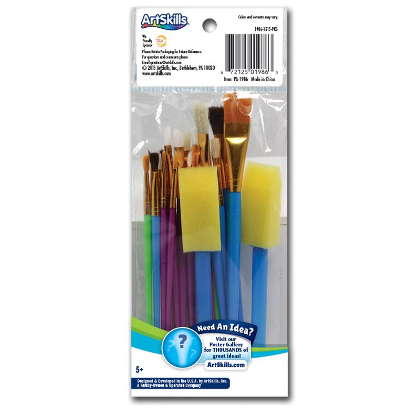 25 Piece Paint Brushes Poster Tools Make A Poster